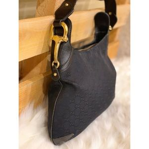 GUCCI Guccissima Creole Black Canvas Hobo Bag